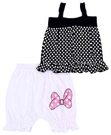 Babyhug Singlet Top And Shorts Set Polka Dot Print - Black