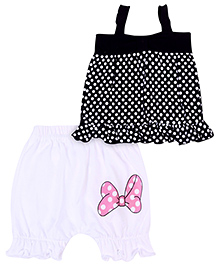 Babyhug Singlet Top And Shorts Set Polka Dot Print - Black