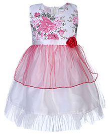 Babyhug Party Dress Floral Embellishment - Pink And White