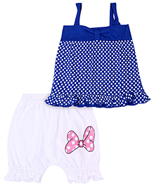 Babyhug Singlet Top And Shorts Set Polka Dot Print - Blue
