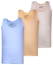 Cucumber Sleeveless Solid Colour Vest Set Of 3 - Orange Light Blue And White
