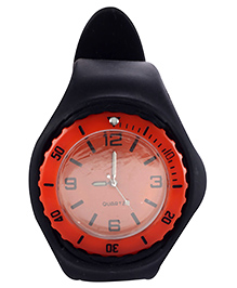 Analog Wrist Watch Round Shape Dial - Black And Red