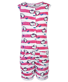 Hello Kitty Cap Sleeves Front Open Jumpsuit - Pink And White