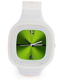 Analog Wrist Watch Square Shape Dial White - Green Dial