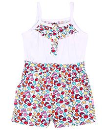 Hello Kitty Singlet Jumpsuit Fruit Print - White