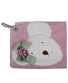 L'Orange Teddy Bear Motif Hand Napkins Small - Pink