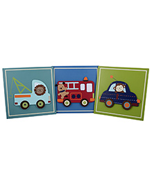 L'Orange Cars Wall Hanging Decor Set Of 3- Multi Colour