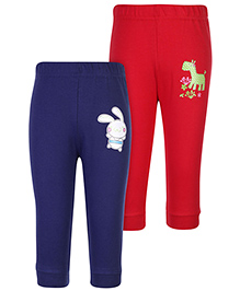 Babyhug Leggings Bunny And Giraffe Print Set of 2 - Navy Blue And Red