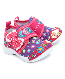 Kittens Casual Shoes With Velcro Closure Bow Applique - Fuchsia