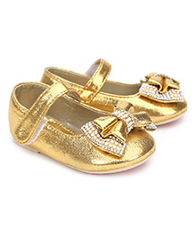 Kittens Belly Shoes Studded Bow Applique - Golden