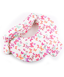 Grandma's Feeding Pillow For Mothers With Butterfly Print - White