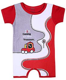 Babyhug Half Sleeves Romper Vroom Print - Red