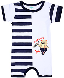 Babyhug Half Sleeves Romper Good Baby Print - Navy Blue And White