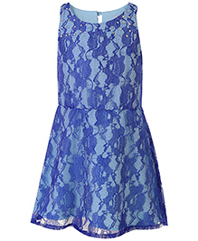 Angelito Sleeveless Floral Net Design Frock - Blue