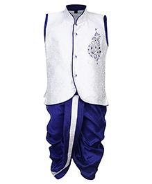 Babyhug Dhoti And Sleeveless Kurta Suit Cream And Blue - Diamond Brooch