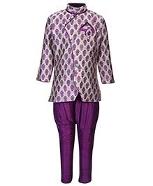 Babyhug Jacquard Kurta And Jodhpuri Pants Diamond Brooch - Dark Plum