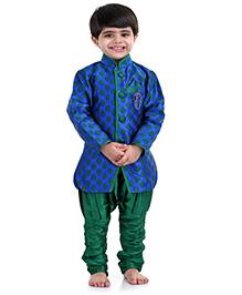 Babyhug Self Pattern Kurta And Breeches - Blue And Green