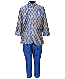 Babyhug Jacquard Kurta And Jodhpuri Pants Diamond Brooch - Scuba Blue