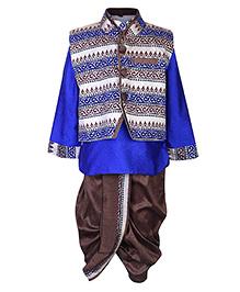 Babyhug Self Print Kurta Dhoti With Jacket - Royal Blue And Chocolate