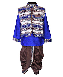Babyhug Self Print Kurta Dhoti With Jacket - Royal Blue And Chocolate