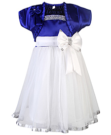 Babyhug Singlet Party Dress With Shrug Bow Applique - White And Blue