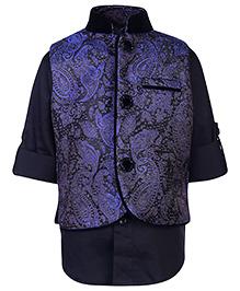 Little Bull Full Sleeves Shirt And Brocade Waistcoat Set - Blue And Black