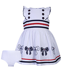 Nauti Nati Cap Sleeves Bow Print Dress With Bloomer - Navy Blue And White