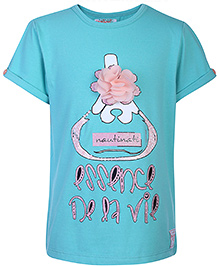 Nauti Nati Half Sleeves Top With Floral Applique - Turquoise