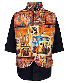Little Bull Full Sleeves Shirt And Printed Waistcoat Set - Orange And Black