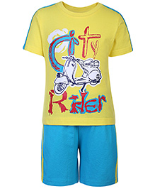 Taeko Half Sleeves T-Shirt And Shorts Set Rider Print - Yellow And Turquoise