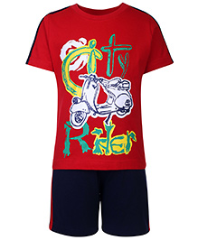 Taeko Half Sleeves T-Shirt And Shorts Set Rider Print - Red And Navy Blue