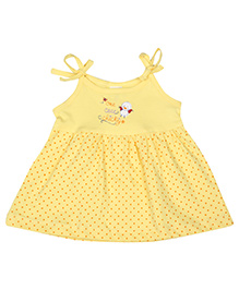 Tango Tie Up Sleeves Chicky Print Short Frock - Yellow