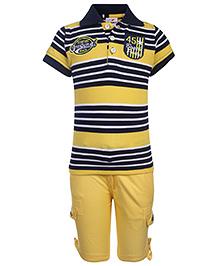 Formula 1 Half Sleeves T-Shirt And Shorts Stripe Pattern - Yellow