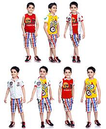 Formula 1 T-Shirt And Short 4 Piece Combo Set - Multicolour