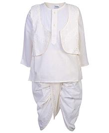 Babyhug Full Sleeves Kurta With Jacket And Dhoti Set - Off White