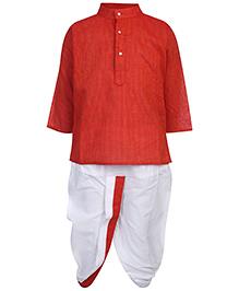 Babyhug Full Sleeves Kurta And Dhoti Set - Orange And White