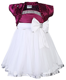Babyhug Singlet Party Dress With Shrug Bow Applique - White And Purple