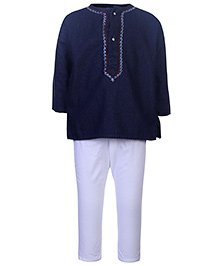 Babyhug Full Sleeves Kurta And Pajama Set - Purssion Blue And White