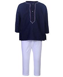 Babyhug Full Sleeves Kurta And Pajama Set - Purssion Blue And White