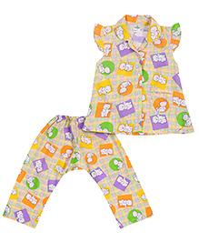Babyhug Cap Sleeves Night Suit Teddy Bear Print - Purple