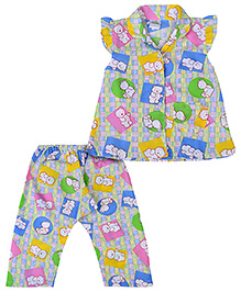 Babyhug Cap Sleeves Night Suit Teddy Bear Print - Blue