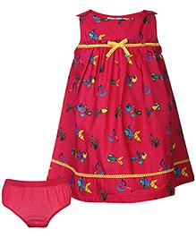 Nauti Nati Printed Sleeveless Dress With Bloomer - Fuchsia