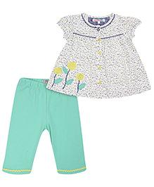 Nauti Nati Tunic Top And Leggings Set Floral Design - White And Lime Green