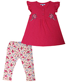 Nauti Nati Tunic And Leggings Set Floral Design - Fuchsia