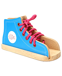 Little Genius Wooden Lacing Shoe - Blue And Pink