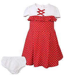 Nauti Nati Cap Sleeve Dress With Heart Print - Red And White