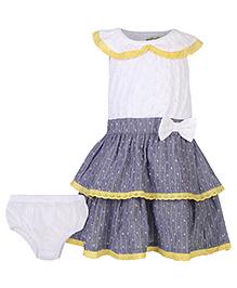 Nauti Nati Sleeveless Printed Dress With Bloomer - Grey And White