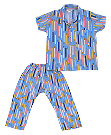 Babyhug Short Sleeves Night Suit Pencil Print - Blue