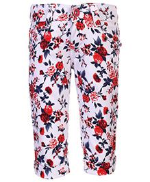 Babyhug Capri Floral Print - White And Red