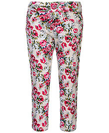 Babyhug Full Length Stretch Trouser Floral Print - Pink And Ivory